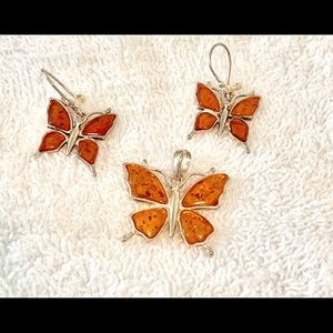 Jewelry - Amber & 925 Silver butterfly pendant and earrings
